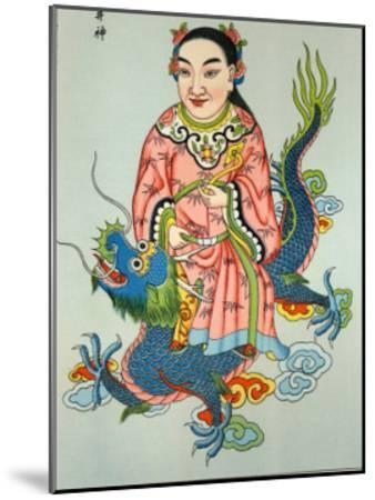 Tsing-Chen the Chinese Spirit of the Wells Rides a Blue Dragon--Mounted Giclee Print