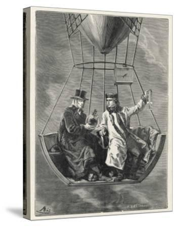 French Scientists Gay-Lussac and Biot Conduct Scientific Observations in a Balloon--Stretched Canvas Print
