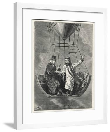 French Scientists Gay-Lussac and Biot Conduct Scientific Observations in a Balloon--Framed Giclee Print