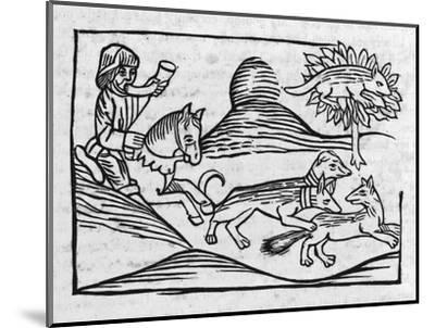"""""""Of the Fox and the Cat"""" Illustration to Caxton's 1484 Edition of Aesop's Fables--Mounted Giclee Print"""