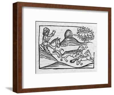 """""""Of the Fox and the Cat"""" Illustration to Caxton's 1484 Edition of Aesop's Fables--Framed Giclee Print"""