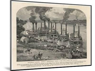Federal Steamboats at Pittsburgh Landing are Used by Major General Grant as His Headquarters--Mounted Giclee Print
