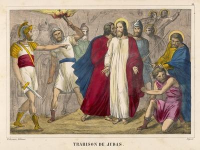 Judas Identifies Jesus to the Soldiers by Kissing Him Whereupon They Arrest Him--Stretched Canvas Print