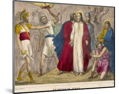Judas Identifies Jesus to the Soldiers by Kissing Him Whereupon They Arrest Him--Mounted Giclee Print