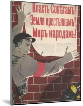 Big Brave Communist Worker Fixes a Poster on a Wall--Mounted Giclee Print
