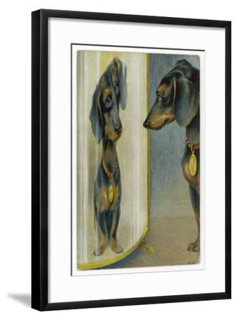 Dachshund Admires Its Reflection in a Distorting Mirror--Framed Giclee Print