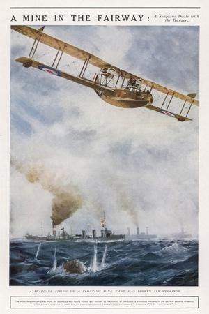 Seaplane Fires at a Breakaway Mine to Eliminate Its Threat to Nearby Ships--Stretched Canvas Print