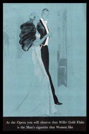 Wills's Gold Flake at the Opera, The Man's Cigarette That Women Like--Stretched Canvas Print