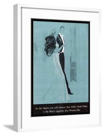 Wills's Gold Flake at the Opera, The Man's Cigarette That Women Like--Framed Giclee Print
