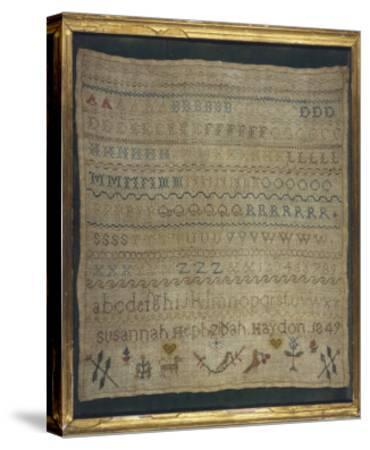 Beautiful Sampler Depicting the Alphabet in Both Lower and Upper Case--Stretched Canvas Print
