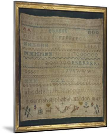 Beautiful Sampler Depicting the Alphabet in Both Lower and Upper Case--Mounted Giclee Print