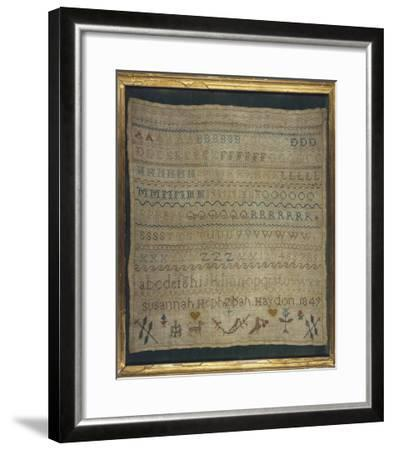 Beautiful Sampler Depicting the Alphabet in Both Lower and Upper Case--Framed Giclee Print