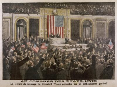 American President Woodrow Wilson Asks Congress to Declare War--Stretched Canvas Print