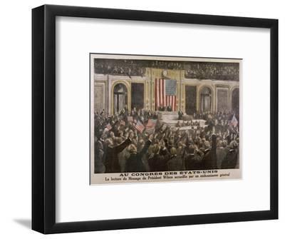American President Woodrow Wilson Asks Congress to Declare War--Framed Giclee Print