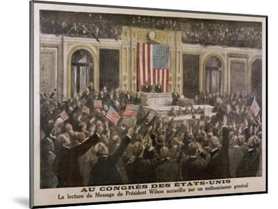 American President Woodrow Wilson Asks Congress to Declare War--Mounted Giclee Print
