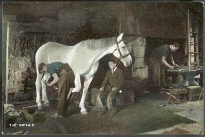 Boy Watches as a Blacksmith Shoes a Horse--Stretched Canvas Print
