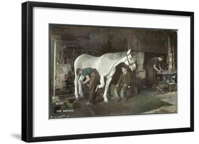 Boy Watches as a Blacksmith Shoes a Horse--Framed Giclee Print