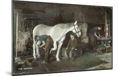 Boy Watches as a Blacksmith Shoes a Horse--Mounted Giclee Print