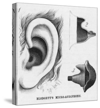 Diagrams to Show Blodgett's Micro-Audiphone Hearing Aid and How It is Inserted into the Ear--Stretched Canvas Print