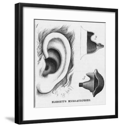 Diagrams to Show Blodgett's Micro-Audiphone Hearing Aid and How It is Inserted into the Ear--Framed Giclee Print