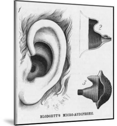 Diagrams to Show Blodgett's Micro-Audiphone Hearing Aid and How It is Inserted into the Ear--Mounted Giclee Print