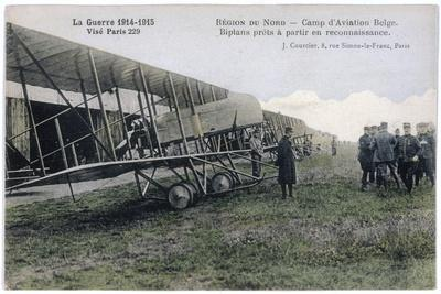 Farman Biplanes of a Belgian Squadron Used for Reconnaisance--Stretched Canvas Print
