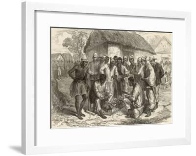 Crowd Gathers to Watch Two People Play the West African Game of Wharri--Framed Giclee Print
