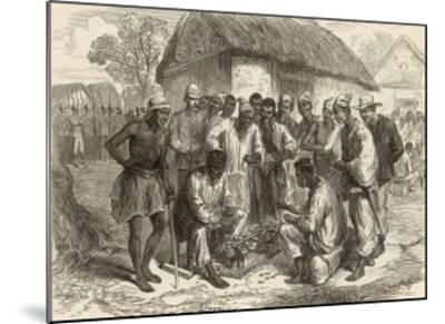 Crowd Gathers to Watch Two People Play the West African Game of Wharri--Mounted Giclee Print