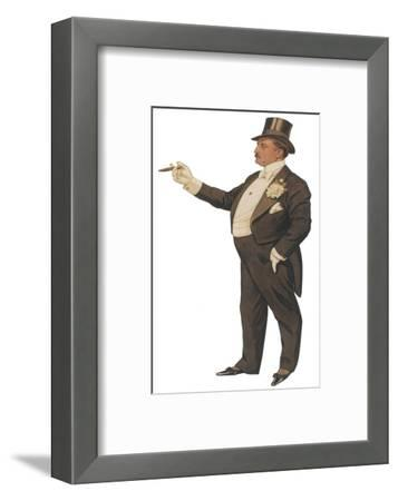 Cigar Smoking Gentleman in a Black Tail-Coat and Trousers White Waistcoat Bowtie and Gloves Top Hat--Framed Giclee Print