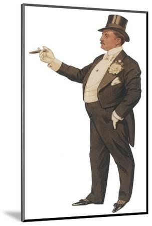 Cigar Smoking Gentleman in a Black Tail-Coat and Trousers White Waistcoat Bowtie and Gloves Top Hat--Mounted Giclee Print