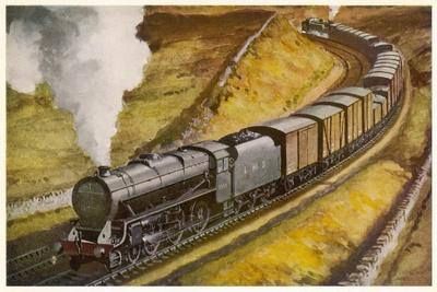 """London Midland and Scottish Railway Goods Train Hauled by a 4-6-0 """"Patriot"""" Locomotive--Stretched Canvas Print"""