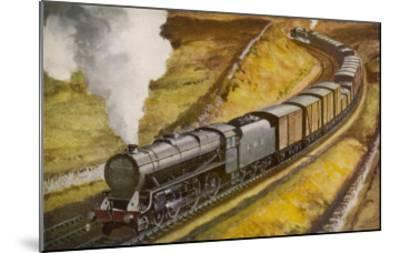 """London Midland and Scottish Railway Goods Train Hauled by a 4-6-0 """"Patriot"""" Locomotive--Mounted Giclee Print"""