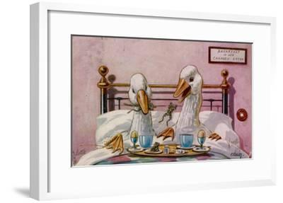 Couple of Geese Breakfast in Bed: Their Meal Includes Eggs Can They be Cannibals?--Framed Giclee Print