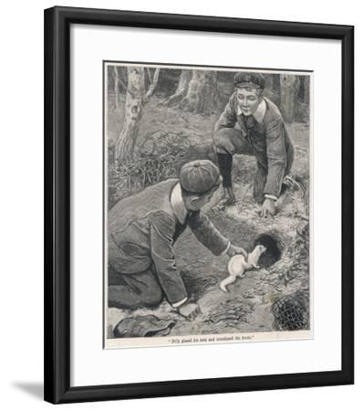 Two Boys in Caps Set a Ferret Down a Rabbit Hole--Framed Giclee Print