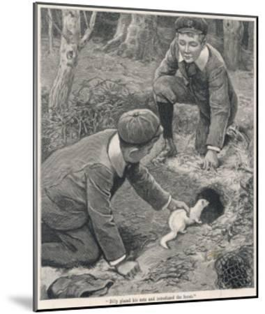 Two Boys in Caps Set a Ferret Down a Rabbit Hole--Mounted Giclee Print