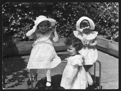 Three Little Girls in White Dresses with Matching Hats--Stretched Canvas Print