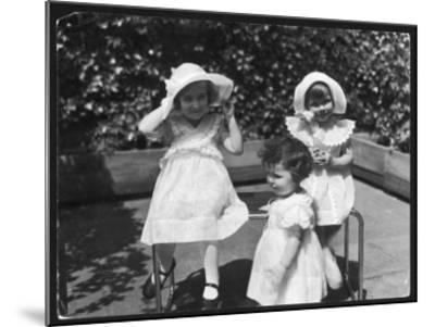 Three Little Girls in White Dresses with Matching Hats--Mounted Giclee Print