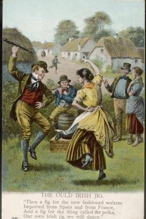 Couple Dance an Irish Jig on the Village Green--Stretched Canvas Print