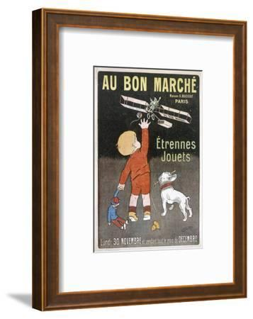 Small Boy Waves to Father Christmas as He Flies Past in a Plane--Framed Giclee Print