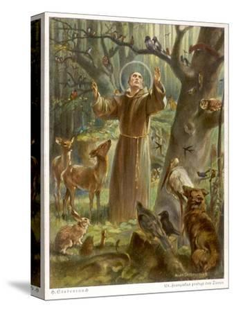Saint Francis of Assisi, Preaching to the Animals-Hans Stubenrauch-Stretched Canvas Print