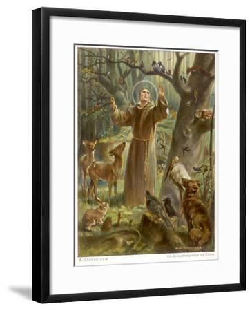 Saint Francis of Assisi, Preaching to the Animals-Hans Stubenrauch-Framed Giclee Print