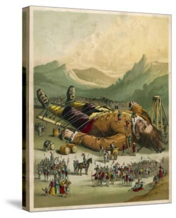 Gulliver is Tied Down by the People of Lilliput--Stretched Canvas Print