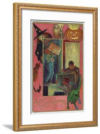 Hallowe'en Witch Offers Suitable Costume a Shopkeeper Provides Appropriate Eats--Framed Giclee Print