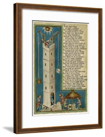 Jesus from Heaven Looks Down Apprehensively at the Builders of the Tower of Babel--Framed Giclee Print