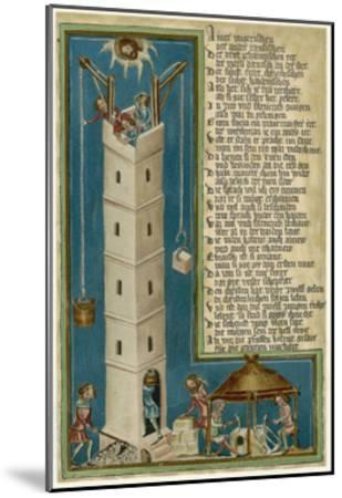 Jesus from Heaven Looks Down Apprehensively at the Builders of the Tower of Babel--Mounted Giclee Print