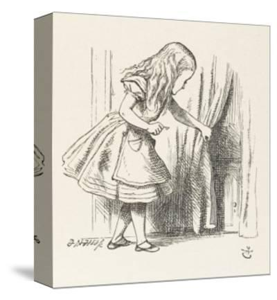 Alice Alice Draws Back the Curtain to Reveal a Little Door-John Tenniel-Stretched Canvas Print