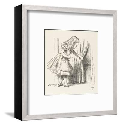 Alice Alice Draws Back the Curtain to Reveal a Little Door-John Tenniel-Framed Premium Giclee Print
