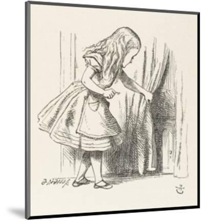 Alice Alice Draws Back the Curtain to Reveal a Little Door-John Tenniel-Mounted Premium Giclee Print