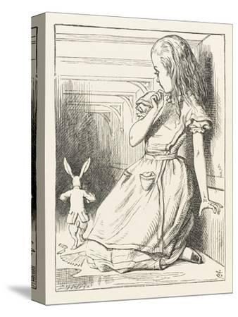 Alice Watches the White Rabbit Disappear Down the Hallway-John Tenniel-Stretched Canvas Print
