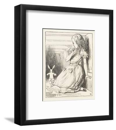 Alice Watches the White Rabbit Disappear Down the Hallway-John Tenniel-Framed Premium Giclee Print